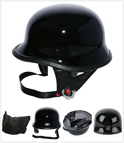- TCT-MT Adult Helmet Gloss Black DOT German Motorcycle Half Face Chopper Cruiser Biker M~XL