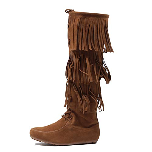 West Blvd Womens Lima Suede Fringe Moccasin Boots Tanv2 Suede