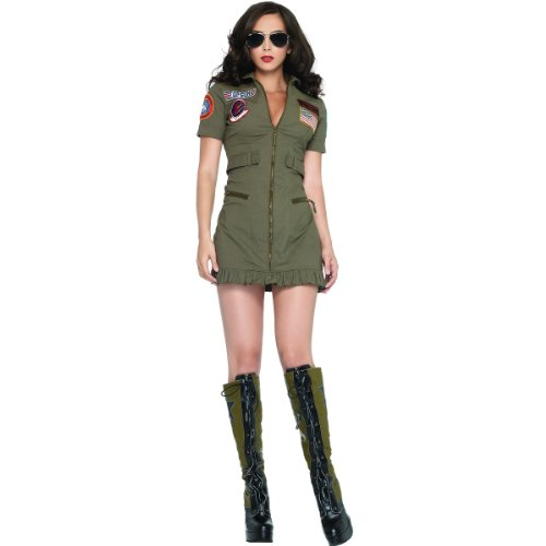 Top Gun Costume Womens Flight Dress (Top Gun Women's Flight Dress Costume - Medium - Dress Size 8-10)
