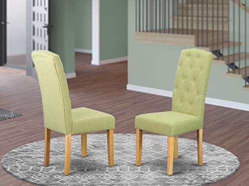 East West Furniture Cep4B07 Celina Parson Chair With Oak Finish Leg And Linen Fabric-Limelight Color