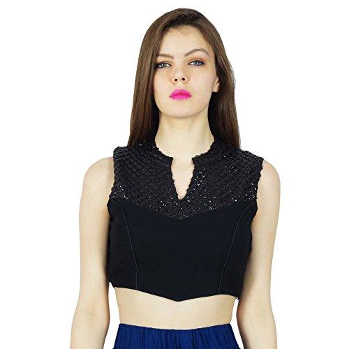 Desgaste Phagun Georgette Ready-Made diseñador de la blusa del partido Crop Top Negro
