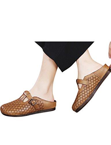 Youlee Mujeres Verano Cuero Zapatillas Hueco Sandalias