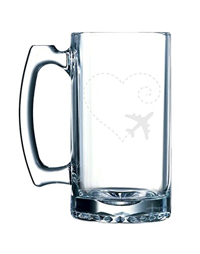 (Airplane Drawing a Heart Swirl Love Sweet Valentine - 26.5 Ounce Glass Mug Stein)
