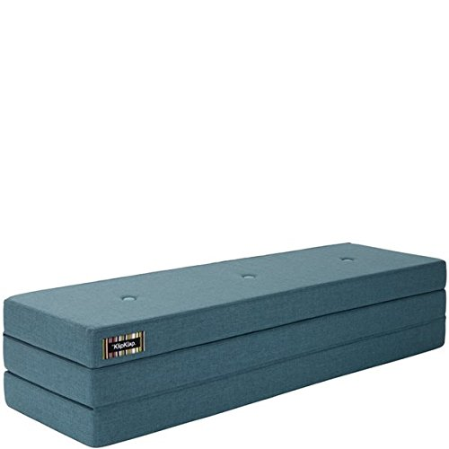by KlipKlap 3 fold Multipurpose Furniture - Dusty Blue with Blue Button, Normal length 180 cm