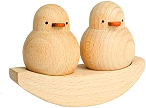 Home Decoration Furnishing Decorative Accent- Friendship, Hand Carved Cute Duck Animal Sculptures Wood Statue Ornament, Creative Gift Collectible Figurines Décor Set for Birthday Wedding Anniversary