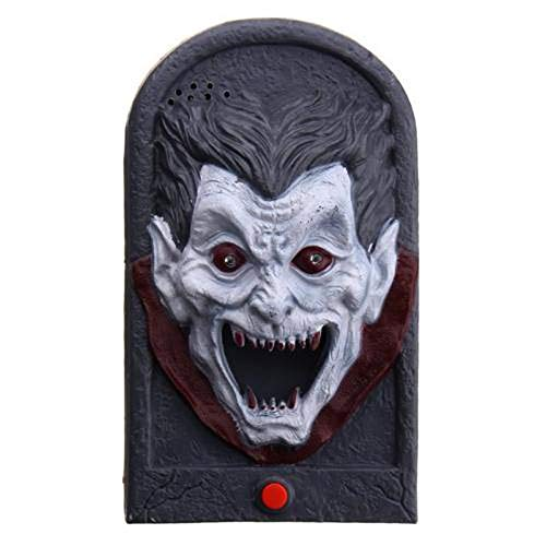 Yamart Halloween Door Bell Decor, Animated Doorbell Plastic Trick Witch Skull Vampire with Scary Sound and Light Up Battery Powered Scary Decorations for Door ()