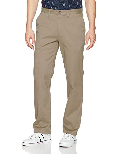 Nautica Men's Classic Fit Flat Front Stretch Solid Chino Deck Pant, True Khaki, 34W 34L - Mens Classic Knit Pant