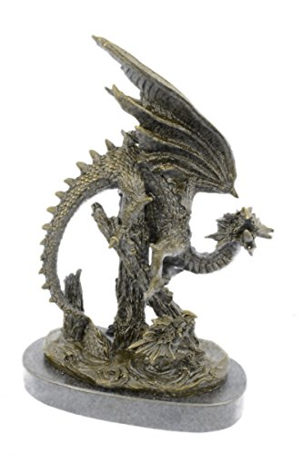 Handmade European Bronze Sculpture DRAGON Chinese Asian Art Home Decor Lost Wax Bronze Statue -UKYRD-648-Decor Collectible Gift