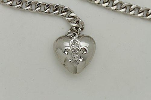 TFJ Women Fashion Skinny Belt Narrow Hip High Waist Silver Metal Chain Love Heart Buckle M L XL by Trendy Fashion Jewelry (Image #9)