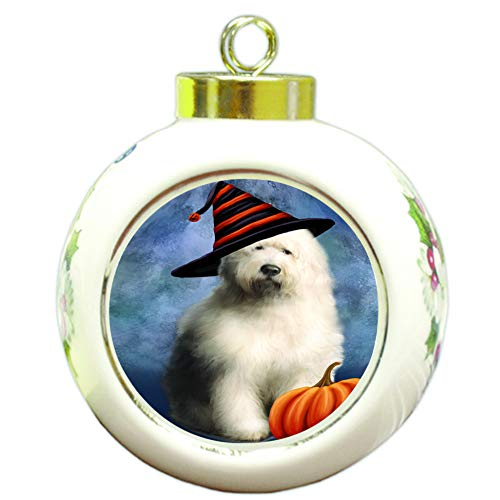 Doggie of the Day Happy Halloween Old English Sheepdog Wearing Witch Hat with Pumpkin Round Ball Christmas Ornament RBPOR55033