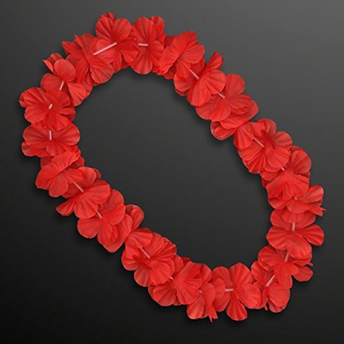 Hawaiian Flower Lei Necklace Red by Blinkee