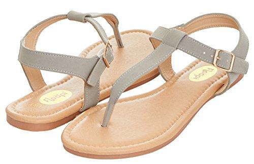 Floopi Womens Summer Flat Sandals T-Strap Thong Buckle Ankle Strap Sandal (8, Grey-509) Gray Womens Sandals
