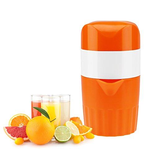 Manual Juicer for Orange Lemon Citrus Squeezer Juicer of Hand Lid Rotation Citrus Juicer with Capacity Container 16 oz., Strainer and Pour Spout