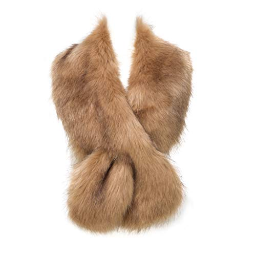 Faux Fur Collar Scarf Shrug for Winter Coat Flapper Fur Feather Boa Gatsby Wrap 1920s Shawl Accessories (Camel1)
