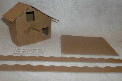 Slanted Roof - Putz Style Little Village Cardboard House-Slanted Roof