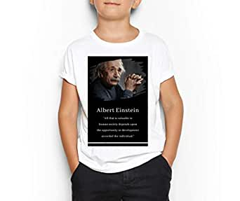 Albert Einstein White Round Neck T-Shirt For Kids 8-9 Years