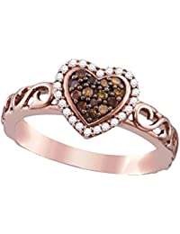 10K Rose Gold Brandy Diamond Chocolate Brown Heart Halo Fine Design Ring 1/4 Ctw.