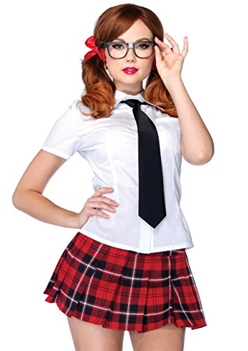 Leg Avenue Women's 4 Piece Private School Sweetie School Girl Costume, White/Red, Medium -