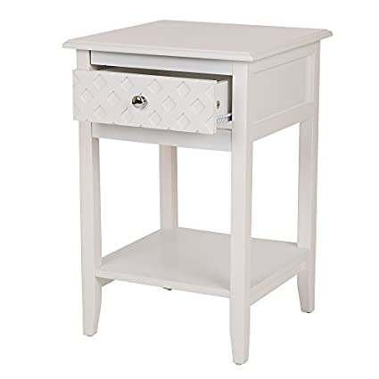 Glitzhome Square Frame Side End Table Furniture Night Stand Storage Shelf  With Bin Drawer (