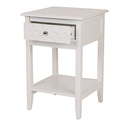 Glitzhome Square-Frame Side End Table Furniture Night Stand Storage Shelf with Bin Drawer (White A) Gift for Mother's - And Table Night Day Furniture End