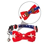 PAWCHIE American Flag Cat Collars Breakaway, 2 Pack Bow Tie Collar for Cats with Bell, Adjustable 12