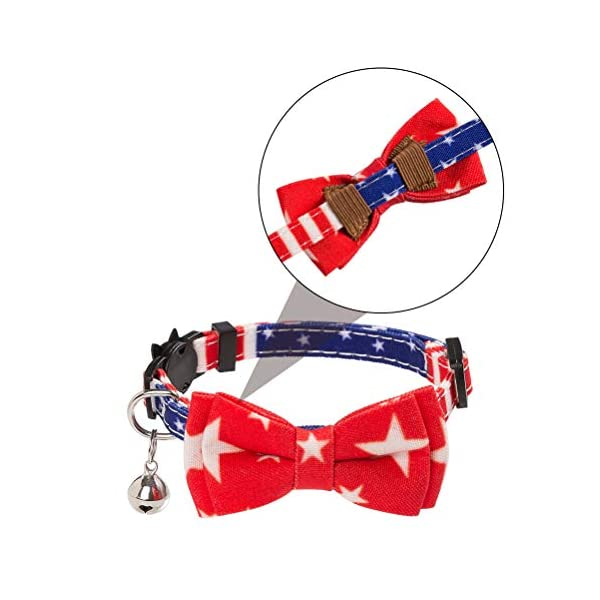 PAWCHIE American Flag Cat Collars Breakaway, 2 Pack Bow Tie Collar for Cats with Bell, Adjustable 5