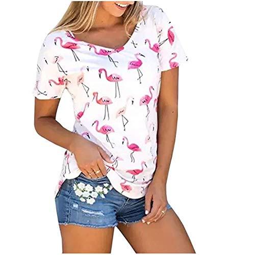 Karuina Womens Short Sleeve Shirts Casual Summer Tops Flamingos Printed Tees Blouse (XXL, White)