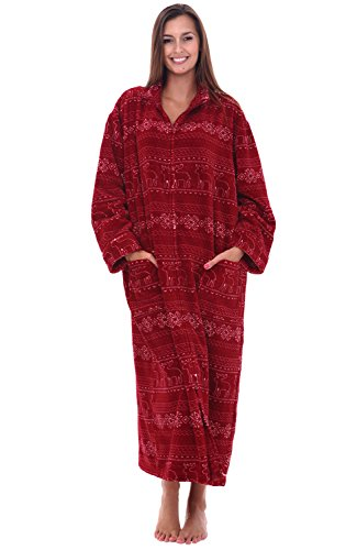 Alexander Del Rossa Womens Fleece Robe, Soft Zip-Front Bathrobe, Large XL Red Winter (A0300R28XL)
