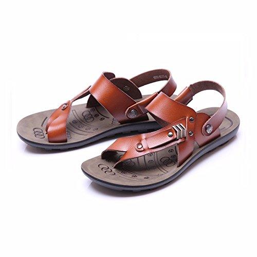 estate traspirante Uomini infradito vera pelle sandali Tempo libero Spiaggia scarpa sandali ,Marrone ,US=9.5,UK=9,EU=43 1/3,CN=45