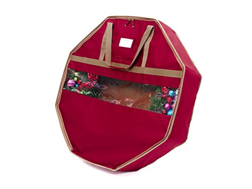 """Covermates – 36"""" Holiday Structured Wreath Storage Bag – 3 Year Warranty- Red"""