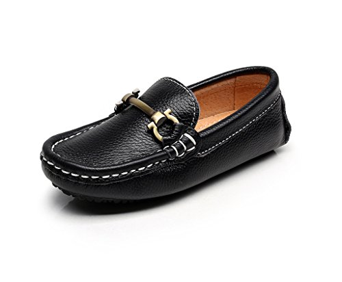 - Shenn Boy's Girl's Slip On Buckle Dress Leather Loafers Shoes 8771K(Black,13.5 US Little Kid)