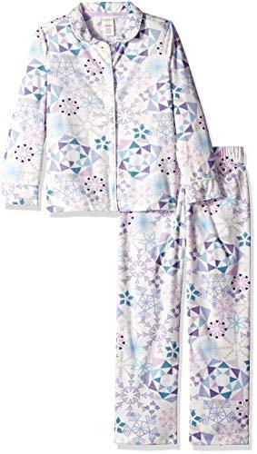 (Gymboree Big Girls' 2-Piece Long Sleeve Long Bottoms Button Up Pajama Set, Pink/Purple Snowflakes, XXS )