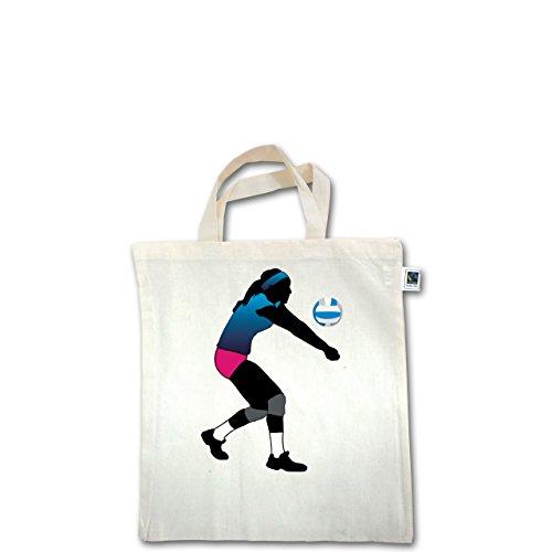 Volleyball - Volleyballspielerin Baggern - Unisize - Natural - XT500 - Fairtrade Henkeltasche / Jutebeutel mit kurzen Henkeln aus Bio-Baumwolle