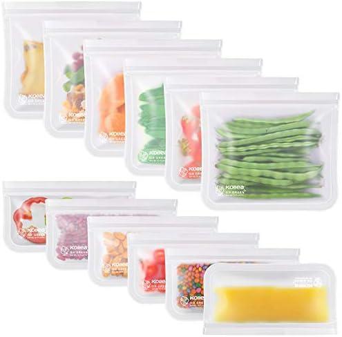 Transparente CODIRATO 12 PCS Bolsas de Silicona Reutilizables Bolsas de Conservaci/ón 2 Tama/ños Bolsa de Almacenamiento de Alimentos para Fruta Verduras Carne y s/ándwich