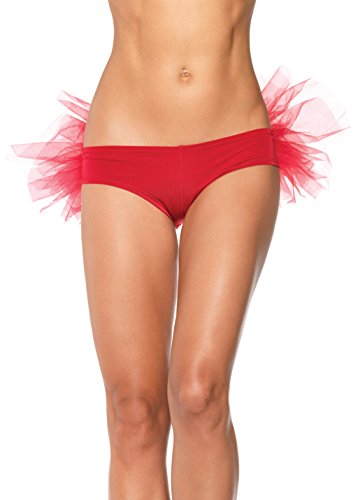 Leg Avenue Women's Spandex Tanga Panty with Tulle Ruffle Back, Red, Small/Medium
