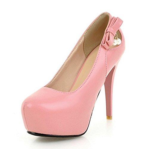 Bianco Cadono Heel Arrossendo Nero Rosso Tacchi Party Rosa DIMAOL Toe PU Scarpe Comfort amp; Stiletto Rosa di Rivetto per Nozze Round Sera Novità Primavera Donna pHIwFxqB