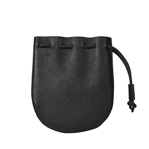 Drawstring Bag, For Coins Medicine, Tobacco, Marbels, Genuine leather Size 5 x 4.25