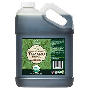 US Organic Tamanu Oil Bulk pack, USDA Certified Organic, 100% Pure Virgin Cold Pressed Unrefined, Dark Green Color (1 Gallon (128 fl oz)) 122