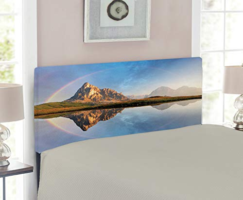 - Ambesonne Landscape Headboard for Twin Size Bed, Rainbow Over Mountain Lake Reflection in Clear Water Dreamy Spots on Earth Photo, Upholstered Decorative Metal Headboard with Memory Foam, Multicolor