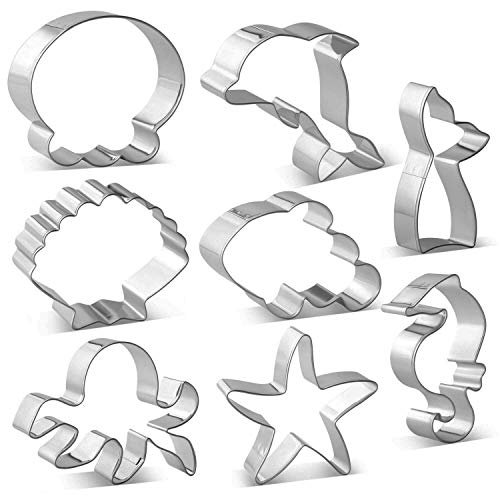 Metal Ocean Creature Mermaid Cookie Cutters Set - 8 PCS - Mermaid/Whale Tail, Dolphin, Octopus, Jellyfish, Clownfish, Seahorse, Starfish and Seashell Sea Animal Shape Biscuit Fondant Cutters