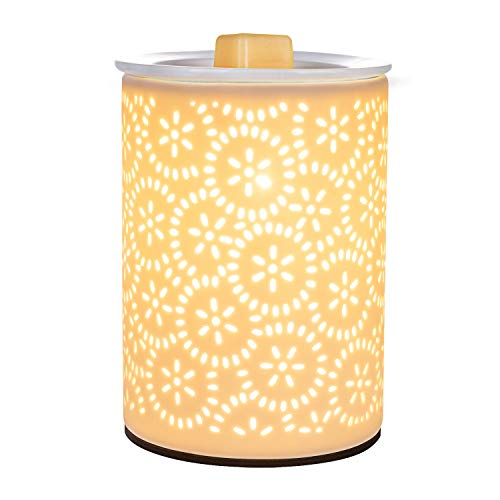 SUNPIN Ceramic Wax Warmer, White Hollowed Electric Fragrance Candle Warmer for Warming Scented Candles,Wax Melts - Spa,Aromatherapy(Floral Pattern (White) (Electric Warmer Scented Oil)