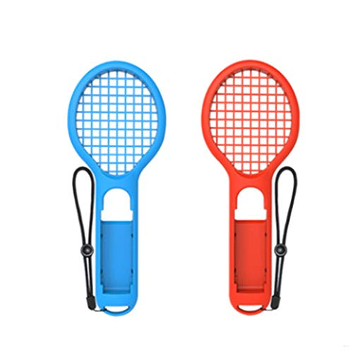 Hemore 1set Mini Switch Tennis Racket Joy-Cons Tennis Grips Twin Pack Gaming Grip Accessories Soft Tennis Game Holder(Red and Blue) ()