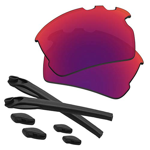 (Predrox Midnight Sun Mirror Flak 2.0 XL Vented Lenses & Rubber Kits Replacement for Oakley OO9188 Polarized)