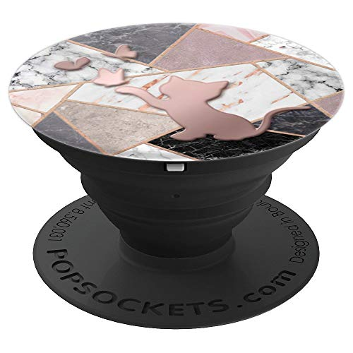 Rose Gold cat kitten Pop Socket Black grey white Pink marble - PopSockets Grip and Stand for Phones and Tablets