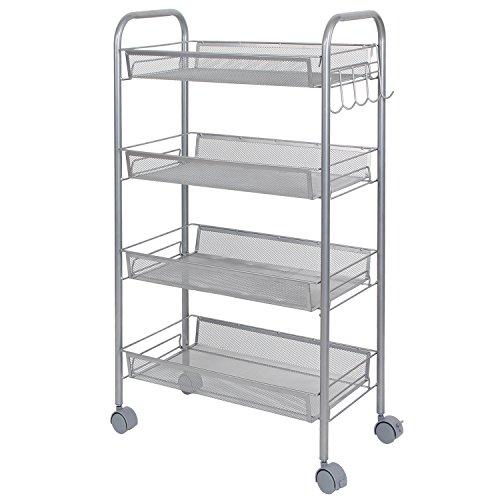 Lifewit Metal Mesh Storage Units Rolling Cart with 4 Baskets, Shelf Trolley for Office, Kitchen,etc. - Storage Drawer Shelf