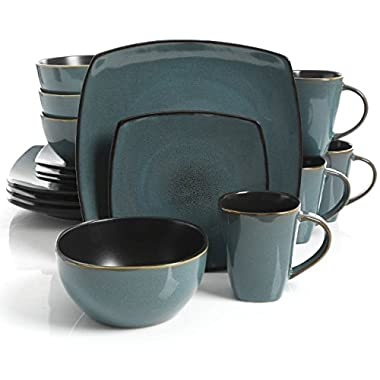 Square Dinnerware Service for 8, Plates Bowls Mugs, 32-Piece Set, Modern Teal & Black