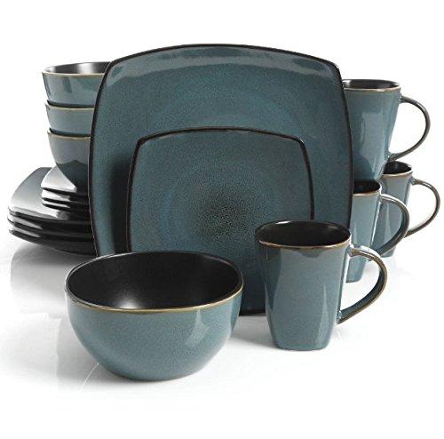 Square Dinnerware Service for 8, Plates Bowls Mugs, 32-Piece Set, Modern Teal & Black