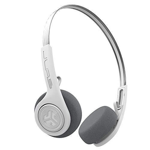 JLab Audio Rewind Wireless Retro Headphones - White - Bluetooth 4.2 Twelve Hours Playtime Custom EQ3 Sound Play and Pause Your Music Answer & Hang up Phone Calls and Track Forward Throwback 80s 90s