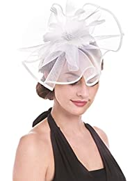 Fascinator Hat Feather Mesh Net Veil Party Hat Flower Derby Hat with Clip and Hairband for Women