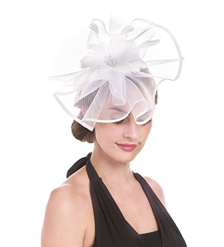 SAFERIN Fascinator Hat Feather Mesh Net Veil Party Hat Flower Derby Hat with Clip and Hairband for Women (TA1-White Feather Mesh) -